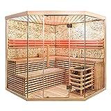 Home Deluxe - Sauna tradizionale - Skyline XL BIG parete in pietra artificiale - legno: legno Hemlocktanne - Dimensioni: 200 x 200 x 210 cm - con accessori