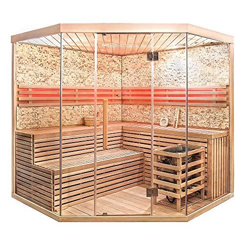 Home Deluxe - Traditionelle Sauna - Skyline XL BIG Kunststeinwand - Holz: Hemlocktanne -Glasfront - Inkl. komplettem Zubehör