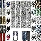 Flauschvorhang inkl. Raffhalter, Insektenschutz Moskitoschutz Campingvorhang, Auswahl: Unistreifen Hellgrau 90x200 cm