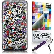 CASEiLIKE Graffiti 2703 Bumper Prima Híbrido Duro Protección Case Cover Funda Cascara for Xiaomi Redmi Note 3 +Protector de Pantalla +Plumas Stylus retráctil (Color al azar)