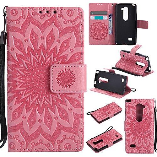 Für LG C40 Fall, Prägen Sonnenblume Magnetische Muster Premium Soft PU Leder Brieftasche Stand Case Cover mit Lanyard & Halter & Card Slots ( Color : Blue ) Pink