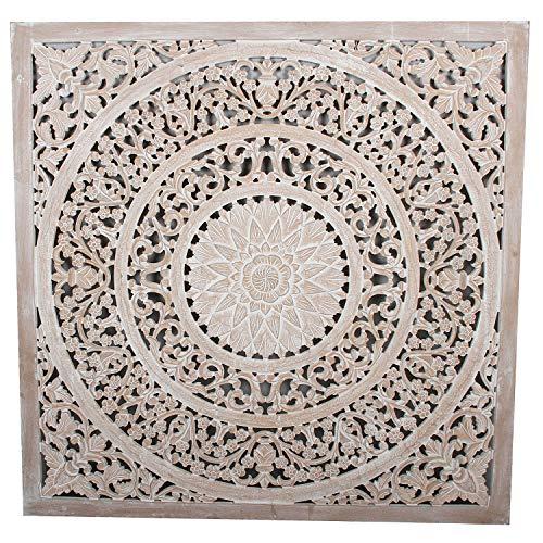 Orientalisches Wandbild Mandala Haya 120 x 120 cm weiß braun handgeschnitzte Wand-Dekoration aus MDF zum Hängen & Stellen im Shabby Chic Stil | Kunsthandwerk | Fensterdeko & Weihnachtsdeko | MD3620
