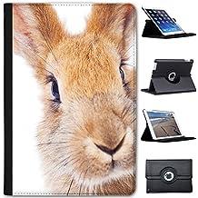 Conejo conejos (piel sintética, función atril), diseño con función atril para tablets negro Red Bunny Rabbit Apple iPad Mini 1, 2 & 3