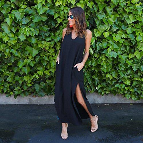 Sommer Amlaiworld damen baumwolle slit kleider ärmellos Lang mode Kleid elegant locker Tasche kleidung Spaltung für Mädchen Schwarz