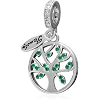 Tree of Life Charms Fit Pandora Charm Bracelets - 925 Sterling Silver Dangle/Dangling Pendant for Necklace and European Snake Chain, Lush Leaves Represent Prosperity and Vitality-Best Gifts to Family