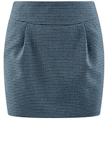 oodji Ultra Damen Kurzer Rock mit Taschen Blau (7029C)