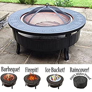 61YvSQUbeML. SS300  - RayGar 3 in 1 Round Fire Pit BBQ Ice Pit Patio Heater Stove Brazier Metal Outdoor Garden Firepit + Protective Cover FP34 - New