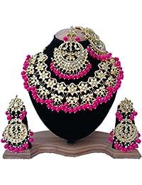 Finekraft Kundan, Pearls Gold Plated Jewellery Set With Earrings,Tikka & Sides Passa For Women