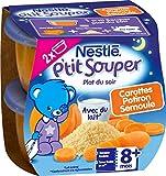 Nestlé Bébé P'tit Souper Carottes Potiron Semoule - 2 x 200g - Plat Légumes et Féculents dès 8 Mois - 2 x 200g - Lot de 8
