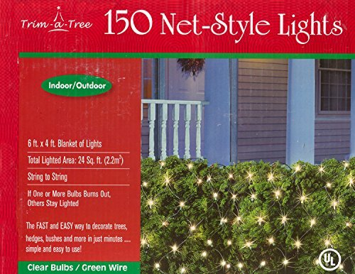 Trim-a-Tree 150 Indoor Outdoor Net Style Christmas Lights (Clear) by Trim-a-Tree -