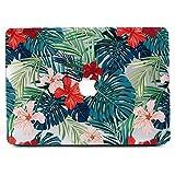 Funda MacBook Air 13, L2W Impresión mate de hojas de palma tropical Patrón cubierta de PC Funda protectora dura de Funda para Apple MacBook Air de 13 pulgadas (modelo: A1369 y A1466) - hojas de palma y flores rojas