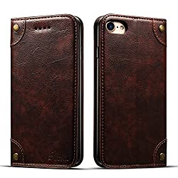 """Apple iPhone 6/6s 4,7"""" Leder Hülle Flip Case Handytasche und Brieftasche mit Kreditkarten Kartenfach mit Unsichtbarem Magnet Verschluss Standfunktion, Koffee"""
