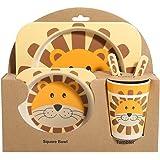 YUIP Piatto per Bambini Forchette per Cucchiaio Eco-Friendly Piatti da Tavola per Piccoli Orsi di Cartone Animato Griglia da Pranzo per Bambini Piatto Diviso per Bambini in Paglia di Grano