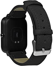 HP95 for Huami Amazfit Bip Youth Watch Band Retro Leather Band Replacement Bracelet Strap (Black)