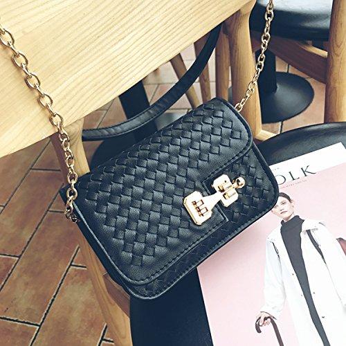 Mode Einfach Gewebte Kleine Quadratische Tasche Mini Damen Schulter Diagonalen Paket Schwarz