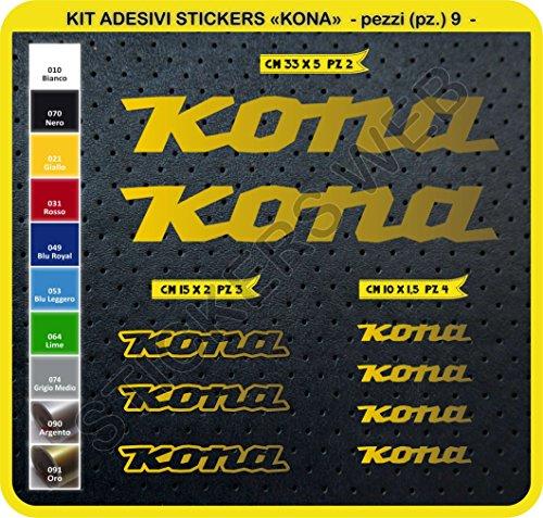 Preisvergleich Produktbild Aufkleber Fahrrad Kona Kit Aufkleber 9Stück–bici Bike Cycle wählbar Cod.0101, Oro cod. 091