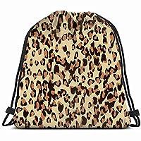 DIMAA leopard print design animal skin animals wildlife Drawstring Backpack Gym Sack Lightweight Bag Water Resistant Gym Backpack for Women&Men for Sports,Travelling,Hiking,Camping,Shopping Yoga
