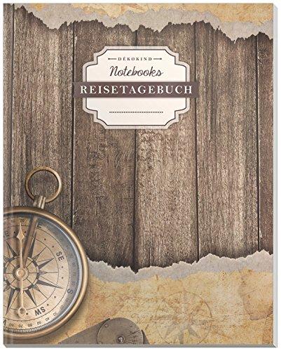 DÉKOKIND Reisenotizbuch zum Selberschreiben   DIN A4, 100+ Seiten, Register, Vintage Softcover   Perfekt als Abschiedsgeschenk   Motiv: Vintage-Design