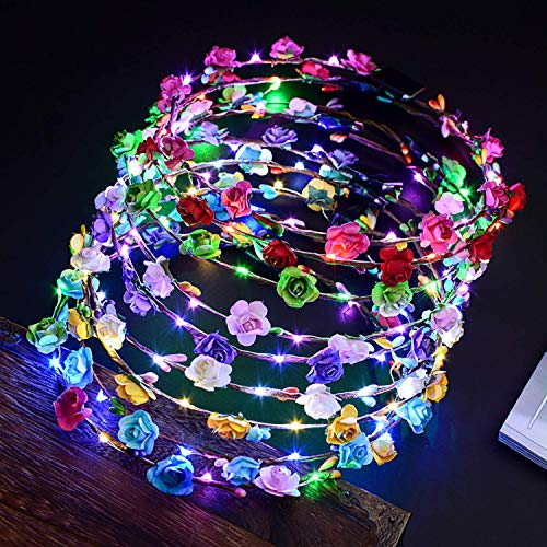 Led Flower Wreath, 12 UNIDS Flores Diadema LED Accesorios para el cabe