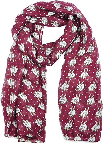 ladies-womens-colorful-long-soft-and-warm-bunny-rabbit-print-maroon-scarf