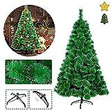 HENGMEI 210cm Albero di Natale Artificiale PVC Ago di Pino Verde con Nevoso Decorazione di Natale incl. Supporto in Metallo