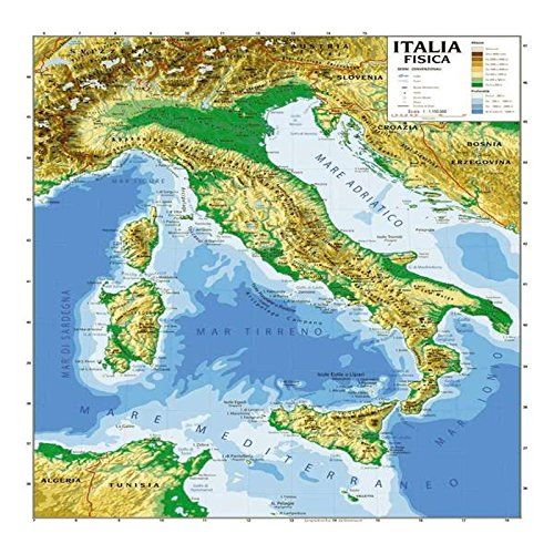 CARTINA CARTA GEOGRIFICA ITALIA BIFACCIALE FISICA POLITICA 100X140CM PLASTIFICATA
