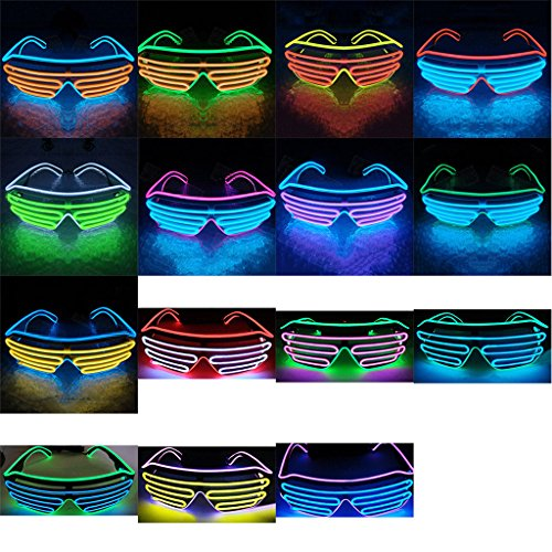 yipinco7285 Light-Up Eye Glasses LED Double Color EL Flashing Eyewear for Halloween Bar Party  15