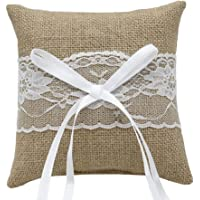 Wedding Ring Pillow Burlap Lace Vintage Rustic Ring Bearer Jewelry Pillow Cushion 15 x 15cm
