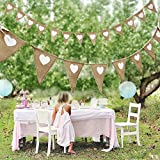 Vintage Fabric Hessian Bunting Rustic Burlap Banner Shabby Wedding Party Birthday Decor White Love Heart