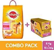 Pedigree Puppy Combo Pack of Dry Food (Chicken & Milk, 6kg) & Wet Gravy (Chicken Chunks, 80g, 15 pouches)