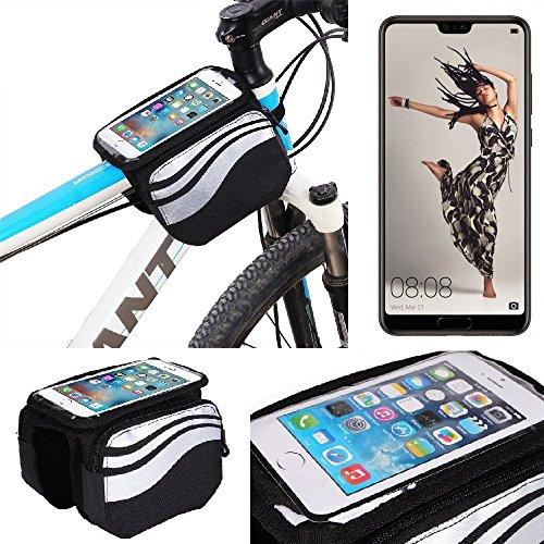 K-S-Trade Rahmentasche für Huawei P20 Pro Single-SIM Rahmenhalterung Fahrradhalterung Fahrrad Handyhalterung Fahrradtasche Handy Smartphone Halterung Bike Mount Wasserabweisend, Silber-schwarz