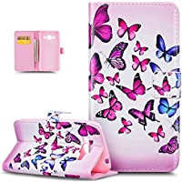 Galaxy J3 Case,Galaxy J3 Cover,ikasus Colorful Image Patterns Printing Premium PU Leather Fold Wallet Pouch Case Wallet Flip Cover Bookstyle Magnetic Closure with Card Slots & Stand Function Protective Case Cover for Samsung Galaxy J3 (2016) - Purple Blue Butterfly