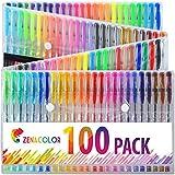 100 bolígrafos de gel Zenacolor con estuche - Set extragrande - 100 colores únicos (sin duplicados) - con tinta de flujo continuo de calidad superior - perfectos para libros de coloración para adultos