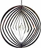 Hanging Stainless Steel Garden Wind Spinner Sun Catcher Crystal - Diamond In Circle