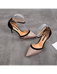 HBDLH 9 Cm Zapatos De Tacon Alto Hembra Verano Bien con Lentejuelas Color  Hebilla Hollow Baotou Sandalias.Treinta Y Cinco… b78c59019c54