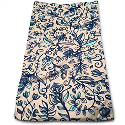 Hipiyoled Blue Pattern 100% Baumwolle, lichtbeständig, saugfähig, maschinenwaschbar, Hotelqualität, weiches saugfähiges Handtuch