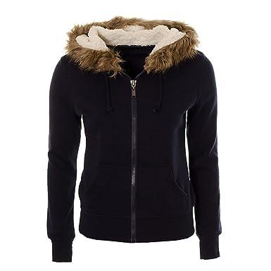 Ladies Womens Soft Teddy Fleece Lined Faux Fur Hooded Cardigan ...
