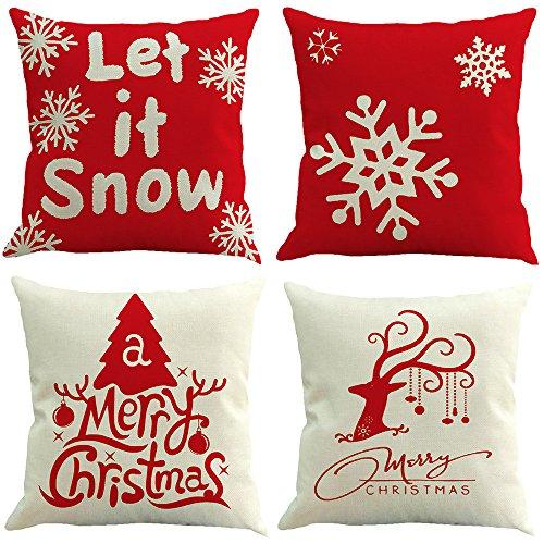 jimmackey 4pc buon natale cervi federa vita cuscino casa divano decor santa protezioni per cuscini (a, 18x 18 (circa 45 cm * 45 cm))
