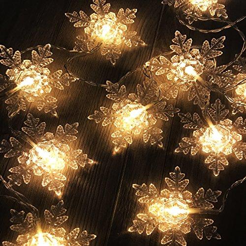 2er Set 10er LED-Lichterkette mit Weihnachtslichterkette Schneeflocke Weihnachten Weihnachtsdekoration XL Eiskristall
