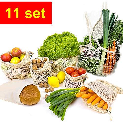 Gemüsebeutel, 11er Set Wiederverwendbare Obst- und Gemüse Beutel, Mehrweg Baumwolle Gemüsenetz Obstbeutel Brotbeutel Aufbewahrungstasche Einkaufsbeutel, Natürliche Netz für Plastikfreies Leben -