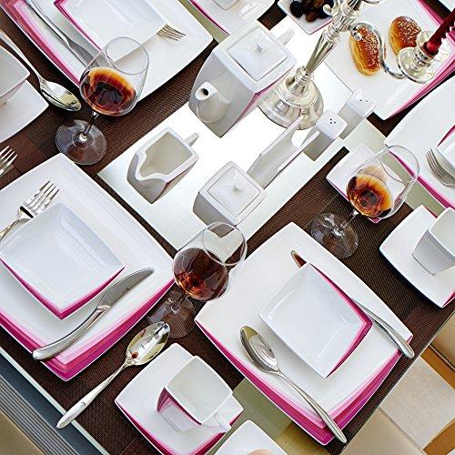 Malacasa, Serie Rebeca 40P, Set 40 tlg. Porzellan Kaffeeservice Frühstück Geschirrset Eckig Teeset für 6 Personen, OHNE KUCHENTELLER ODER SUPPENTELLER - 6