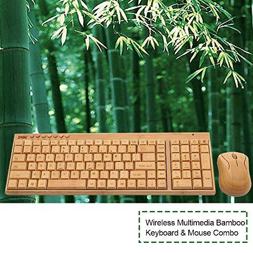 kabellose Bambus Tastatur und Maus - 7