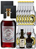 Gin-Set Monkey 47 SLOE GIN Schwarzwald Dry Gin 0,5 Liter + Windspiel Premium Dry Gin Deutschland 0,04 Liter + Filliers Premium Dry Gin Belgien 0,05 Liter MINIATUR, 12 x Thomas Henry Tonic Water 0,2 Liter + 2 Schieferuntersetzer quadratisch 9,5 cm