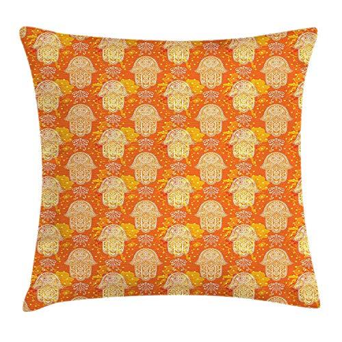 Silver Fox Henna (ZTLKFL Hamsa Throw Pillow Cushion Cover, Henna Hand Motif Spiritual Mystic Symbol Ancient Arabian Hippie Oriental, Decorative Square Accent Pillow Case, 18 X 18 inches, Orange Yellow White)