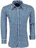 Barbons Trachen Herren Hemd -Kariert- Karohemd- Modern - Fit - Hemden für Freizeit, Party Business und Oktoberfest (XXL, Blau-schwarz)