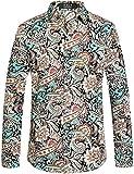 SSLR Herren Hemd Langarm Baumwolle Paisley Drucken Regular-Fit Hemden für Freizeit Business Bügelleicht Shirt (Large, Wasser Blau)