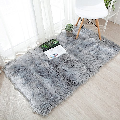 Ojia Deluxe Soft Modernes Faux Pelz Shaggy Teppiche Kinder Spiel Teppich für Living & Schlafzimmer Sofa Modern 3ft x 5ft grau -