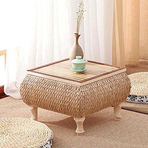 Table à thé en rotin fait main en bois massif table basse de balcon japonais table d'apprentissage de baie vitrée (Size : 60 * 60 * 30cm)