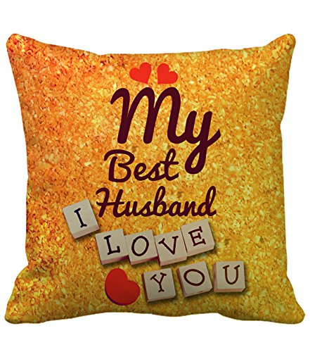 Tied Ribbons Best Karwa Chauth Gift For A Loving Husband Cushion (12 Inch X 12 Inch) With Filler