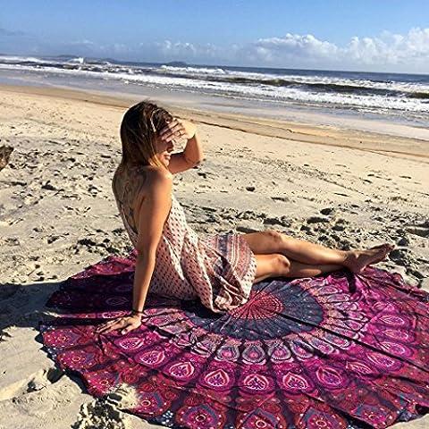 HCFKJ 2017 Mode Runde Hippie Strand Werfen Roundie Mandala Handtuch Yoga Matte BöHmische Lila (Arabischen Tracht)